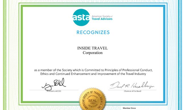 Inside Travel continues remaining the ASTA membership this year - 2019