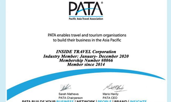 Inside Travel is proud to be a member of PATA for consecutive 5 years