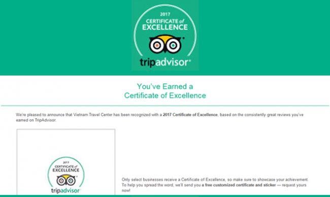 Vietnam Travel Center has been awarded TripAdvisor's Certificate of Excellence for 3 Consecutive Years!