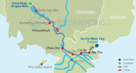 Mekong cruise Saigon to Siem Reap