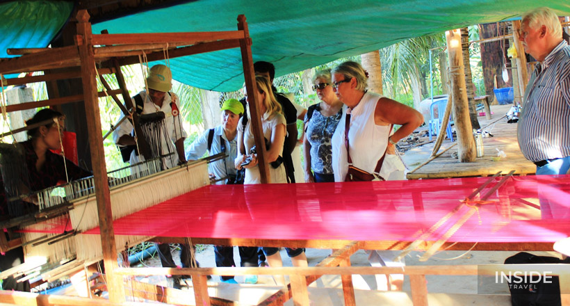 Cycling to Mekong Island & Weaving Village